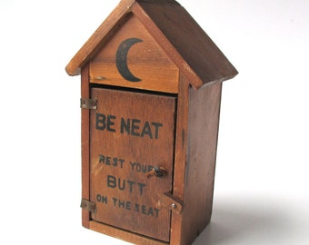 Vintage Wood Funny Outhouse Collectible, woodland cabin, cottage, vacation home