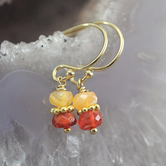 Fire Opal Earrings - October Birthstone Earrings