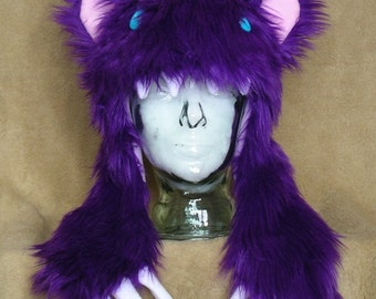 Big furry monster hat - Purple bear