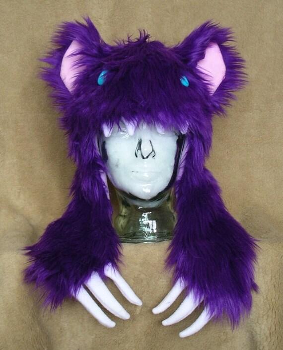 Big furry monster hat Purple bear