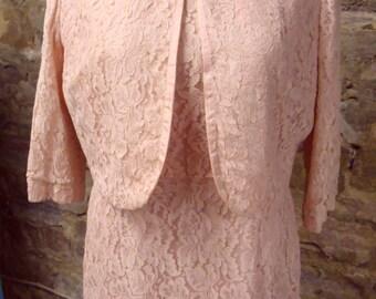 de león PINK VINTAGE LACE dress and jacket set M