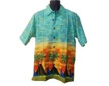 SIDE OPEN, Hawaiian Button Down, Medium , Rotator cuff,  Easy Dressing, Post Shoulder Surgery Shirt, Disability, post op, after surgery