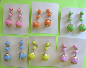 1960s Earrings Mod Ball Your Choice of Color Never Worn On Original Cards Hong Kong Vintage Costume Jewelry Clip On MoonlightMartini