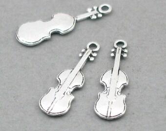 Violin Charms Antique Silver 8pcs pendant beads 7X23mm CM1010S