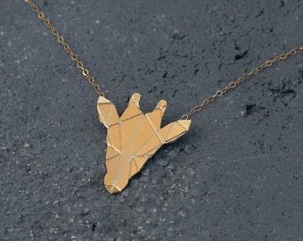 Gold Origami Giraffe Necklace , Geometric Jewelry , Origami Animal , Giraffe Pendant , Giraffe Jewelry , Geometric Jewelry , Animal Necklace
