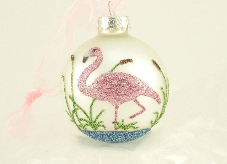 pink flamingo glitter ornament florida christmas flamingo on