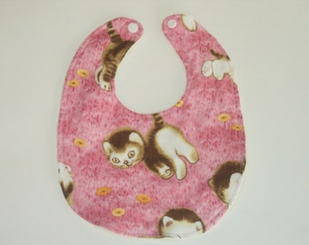 Baby Bib, Kitten Bib, Baby Girl Bib, Newborn Bib, Toddler Bib, Infant Bib, Baby Gift, Baby Shower, Minky Bib, Baby Girl Gift -Made To Order