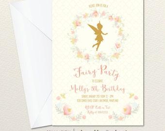 Printable Fairy Invitation, Pixie Party Invitation, First Birthday Invite, Printable, DIY, Fairy, Floral, Watercolor