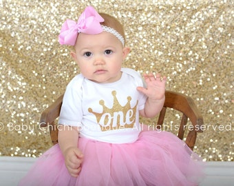 First birthday princess outfit girl Pink and Gold princess birthday First gold glitter birthday outfit Girl first birthday tutu