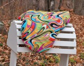 Ready to Ship - Rainbow Abstract Swirl Reversible Close Contact Saddle Cover