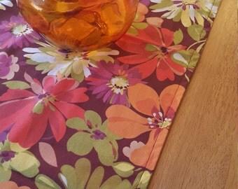 Bright Bold Table Runner   Modern Floral Table Runner