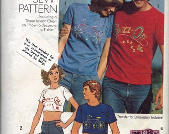 T-Shirt Pattern, How to sew pattern, how to decorate a t-shirt, Transfers for Embroidery included, Tissue lesson chart, Size 34-36 small men