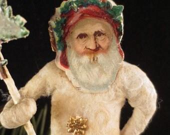 Reproduction German Style Spun Cotton Santa Ornament with Die Cut Antique Tree Scrap