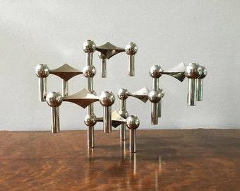 Nagel BMF German Mid Century Candleholders ~ Set of 6 Stackable Modern Atomic Era