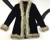 90s Black Velour Faux Suede Monster Fur Trim Jacket / Spice Girls / Clueless / Medium / Fluffy / Fuzzy / Rave / Grunge / Vaporwave
