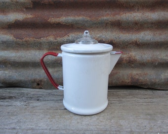 Vintage Tea Kettle Enamelware Coffee Pot or Tea Pot 1940s 1950s Era Classic Red & White Camp Camping Retro Kitchen Primitive Rustic Display