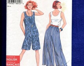 Simplicity 9552 Easy Breezy Gauchos Shorts & Tanks Tops Size XS to XL UNCUT
