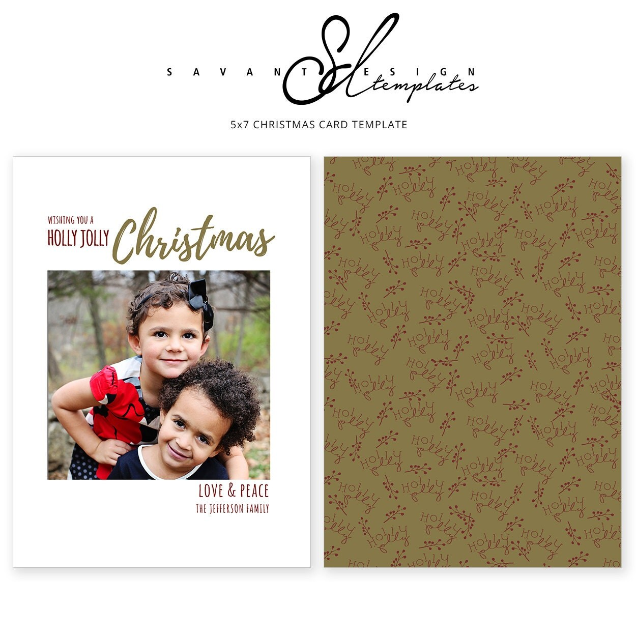 Photo Christmas Card Holly Jolly Christmas Card Christmas Card