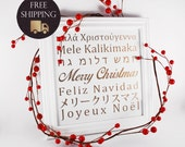 Christmas Decoration Wall Art - Merry Christmas in Different Languages (White & Gold Christmas Collection) - Original Piece, Not a Printable