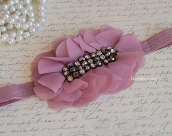 Vintage medium dusty rose/mauve  satin Headband , Christmas headband, dusty rose bow headband, Satin bow headband
