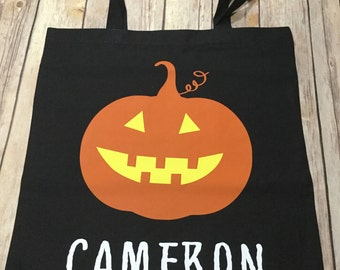 Pumpkin personalized name Halloween trick or treat Tote Bag
