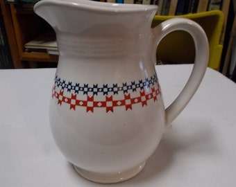 Milk Pitcher National Dairy Month 50th Anniversary Stoneware Table Pitcher Red White Blue Pitcher