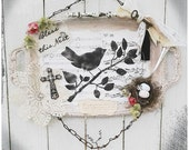Repurposed Painted Tray, Wall Decor, Bird, Bird Nest, Rusty,Music Paper, Silver Spoon
