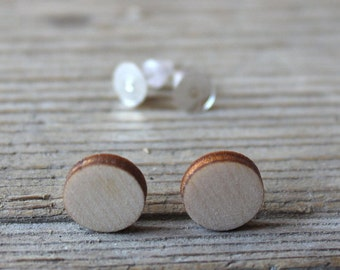 Wooden disc 15 mm / wooden post earrings / set of 10 / diy jewelry