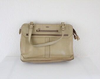 Vintage 70's Blonde Leather Handbag