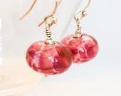 Pink Lampwork Glass Earrings - Pink Earrings - Pink Silver Earrings - Rose Glass Earrings - Silver Pink Earrings - Pink Dangle Earrings