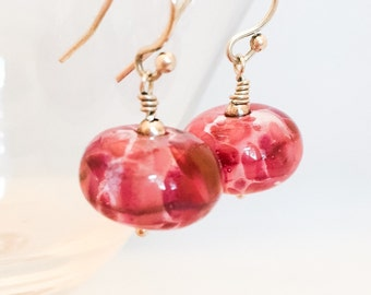 Pink Lampwork Glass Earrings - Pink Earrings - Pink Silver Earrings - Rose Glass Earrings - Silver Pink Earrings - Pink Dangle Earrings