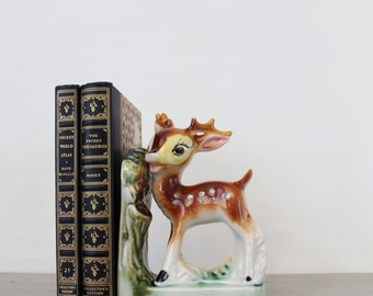 Vintage Ceramic Deer Bookend - Ceramic Baby Fawn Figurine - 1950's Japan Ceramics