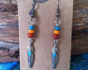 Silver Feather Earrings, Beaded Feather Earings, Tribal, Earthy, Bohemian Gypsy Jewelry, Boho Hippie American Indian Style