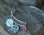 Camping Bracelet - Happy Glamper Bracelet - Travel Trailer Charm - Glamping Bracelet - Camper Charm - Travel Bracelet - Vacation Bracelet