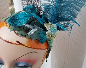 Peacock Blue Fascinator Party Hat, Party Headband Blue Hair Accessory