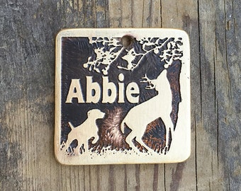 Pet ID Tag, Etched Brass, Personalized, Dog and Deer in the Apples