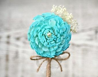Turquoise Flower Wedding Boutonniere // Aqua Sola Wood, Baby's Breath, Burlap Twine, Cream Lace, Groom, Groomsmen, Weddings, Bridal Flowers