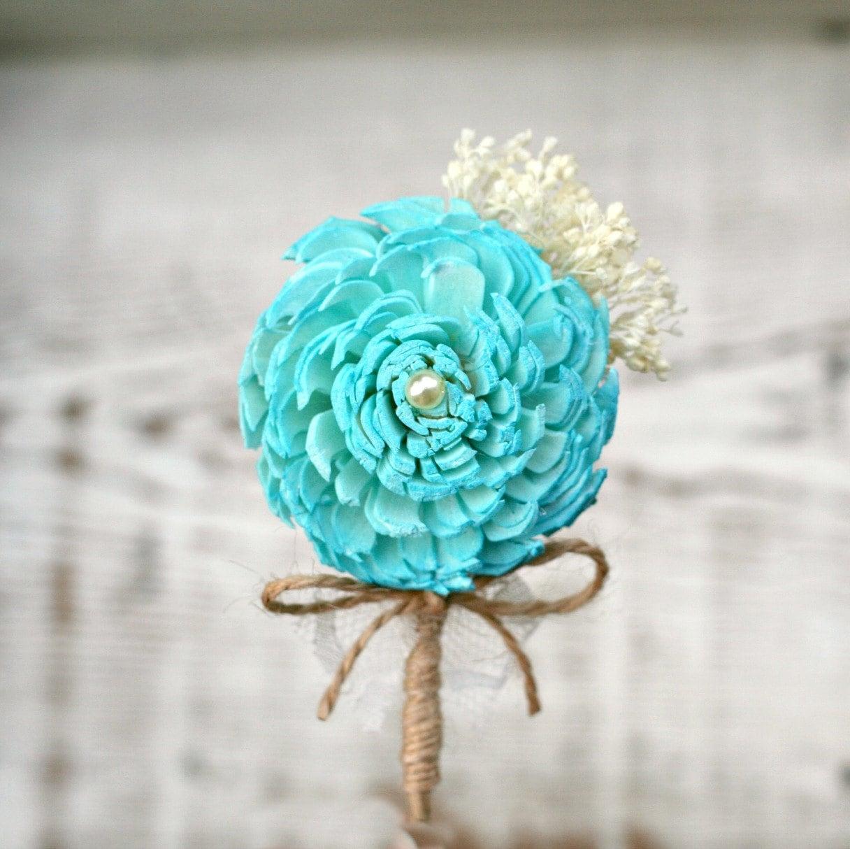 Turquoise Flowers For Wedding: Turquoise Flower Wedding Boutonniere // Aqua Sola Wood