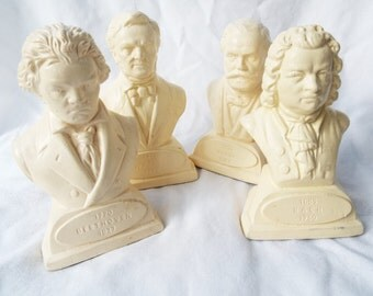 Vintage Mini Busts of Composers Bach Beethoven Verdi Wagner Insta Collection