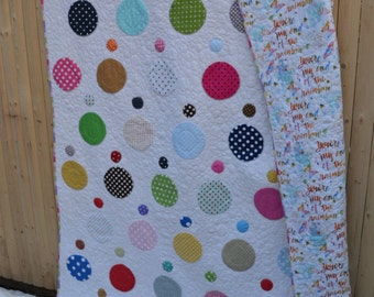 Handmade Modern Rainbow Dot Quilt Hippie Patchwork Cottage Chic Boho Retro Mod Polka Dot  Large Throw Small Twin Quilt
