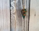 Mosaic Malachite Diamond Point Boho Long Necklace