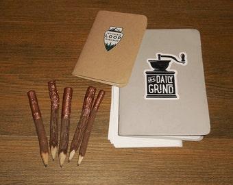 Rose Gold Dipped Regular Twig Pencils - set of five, wood pencils