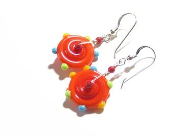Lampwork Glass Wheel Earrings. Funky Orange Earrings, Colorful Disc Earrings, Artisan Jewelry, Sterling Silver Leverback Earrings, Gifts