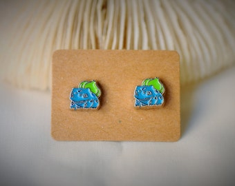 POKEMON's BULBASAUR with Stainless Steel Stud Earrring ~ 8 mm- Unisex / Casual / Cutie