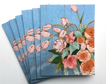 Box s/6 Floral notecards painted tulip bouquet card set