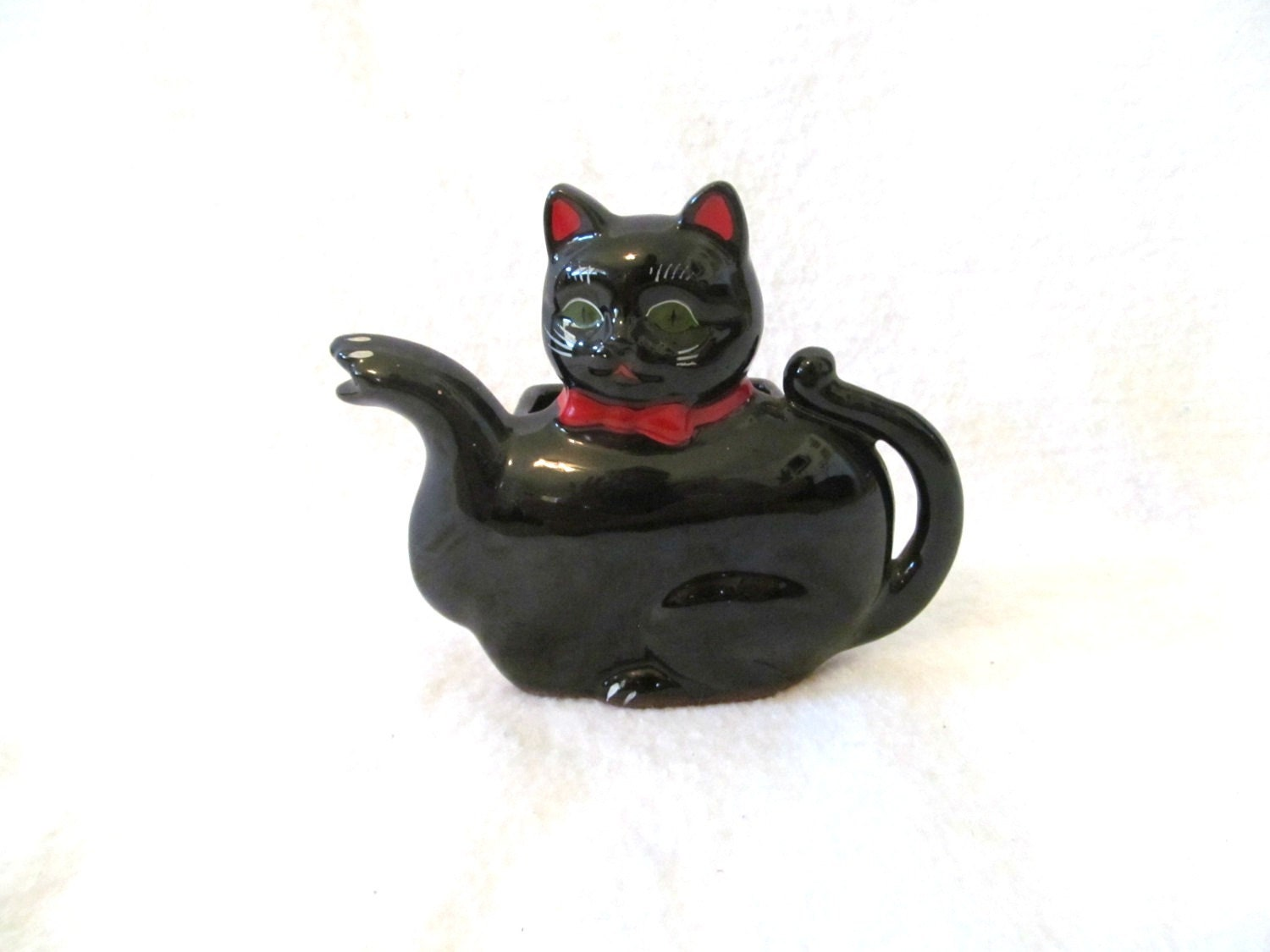 Vtg Midcentury Black Cat Redware Figurine Teapot Shaped