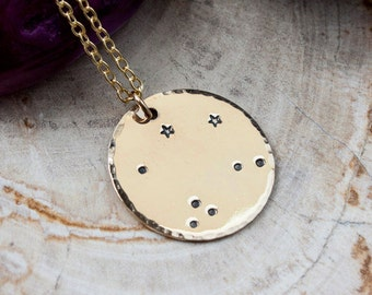 Libra constellation zodiac necklace. Gold zodiac constellation necklace. Libra zodiac necklace. Libra birthday gift necklace. RTS