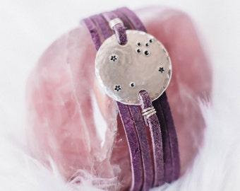 Leo constellation zodiac wrap bracelet. Personalized zodiac constellation bracelet. Leo gift. Personalized zodiac gift. Leather wrap. RTS