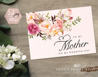 DIGITAL DOWNLOAD - 5x7 To My Mother on my Wedding Day Card.  To my Mom on my Wedding Day. On My Wedding Day Card.  Wedding Card.