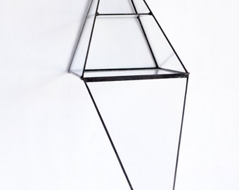 Glass Box Pyramid Display Box Stained Glass Display Box Clear Glass Jewelry Box Pyramid With a Hinged Door